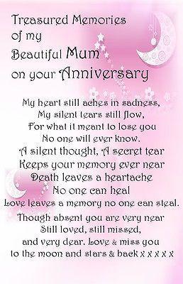 Anniversary #bereavement grave card #memorial keepsakes #female no501 mum etc.