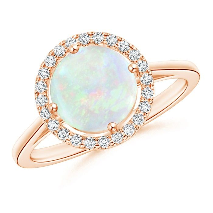 Angara Vintage Diamond Floral Halo Cabochon Opal Cocktail Ring in Yellow Gold