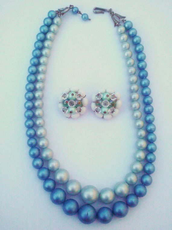 Vintage 1950s/ 1960sFaux Pearl Blue Grey by PeachburritoVintage, $27.00