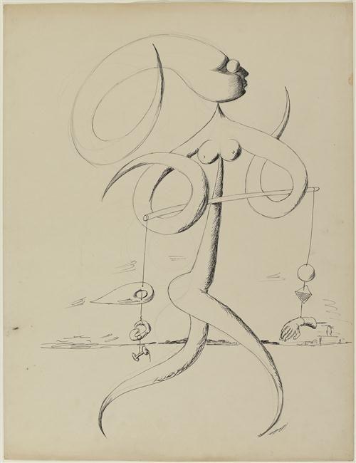 """Victor BRAUNER, """"Sans titre"""", 1937 - Mine graphite et encre de Chine sur papier, 65,4 x 50,1 cm, Paris, Centre Pompidou, musée national d'Art moderne, Centre de création industrielle"""