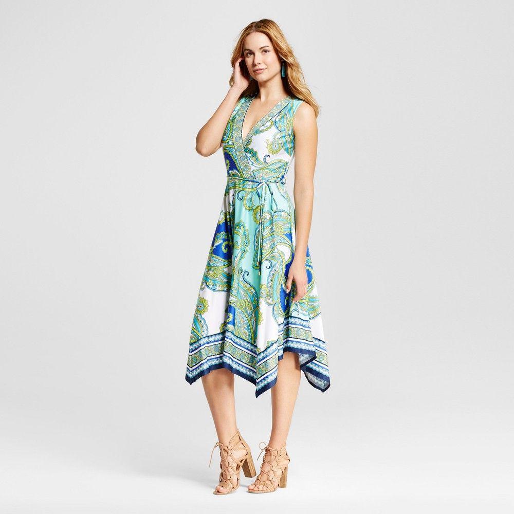 abd3c390b Women s Mix Printed Faux Wrap Maxi Dress with Sharkbite Hem - Blue Combo 8  - Studio One New York