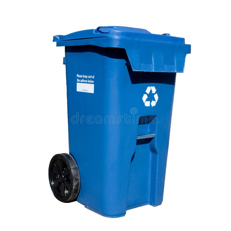 Curbside Recycle bin Large sized blue box curb side recycling bin on wheels for