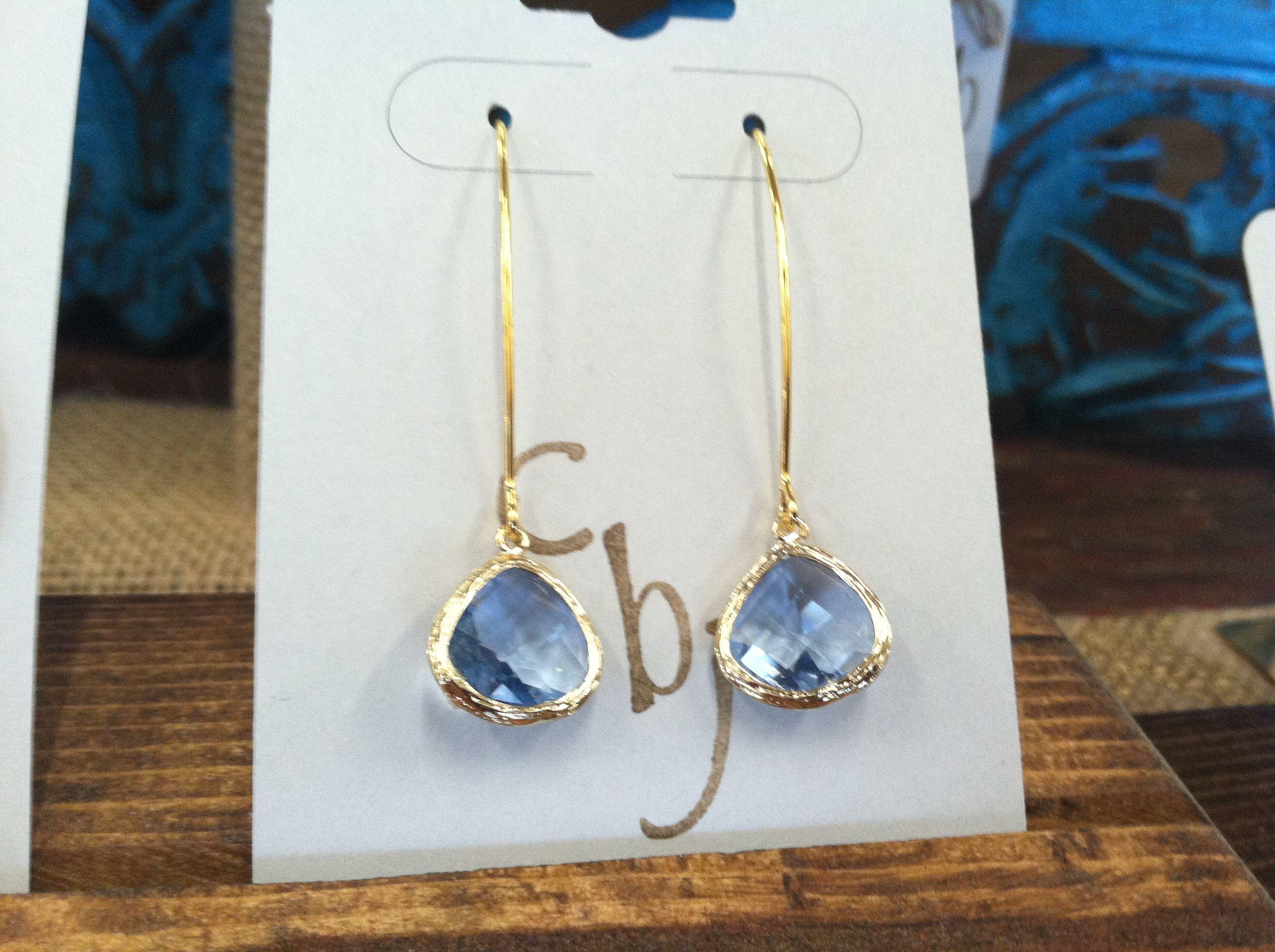 14K Gold Plated Blue Glass earrings $20