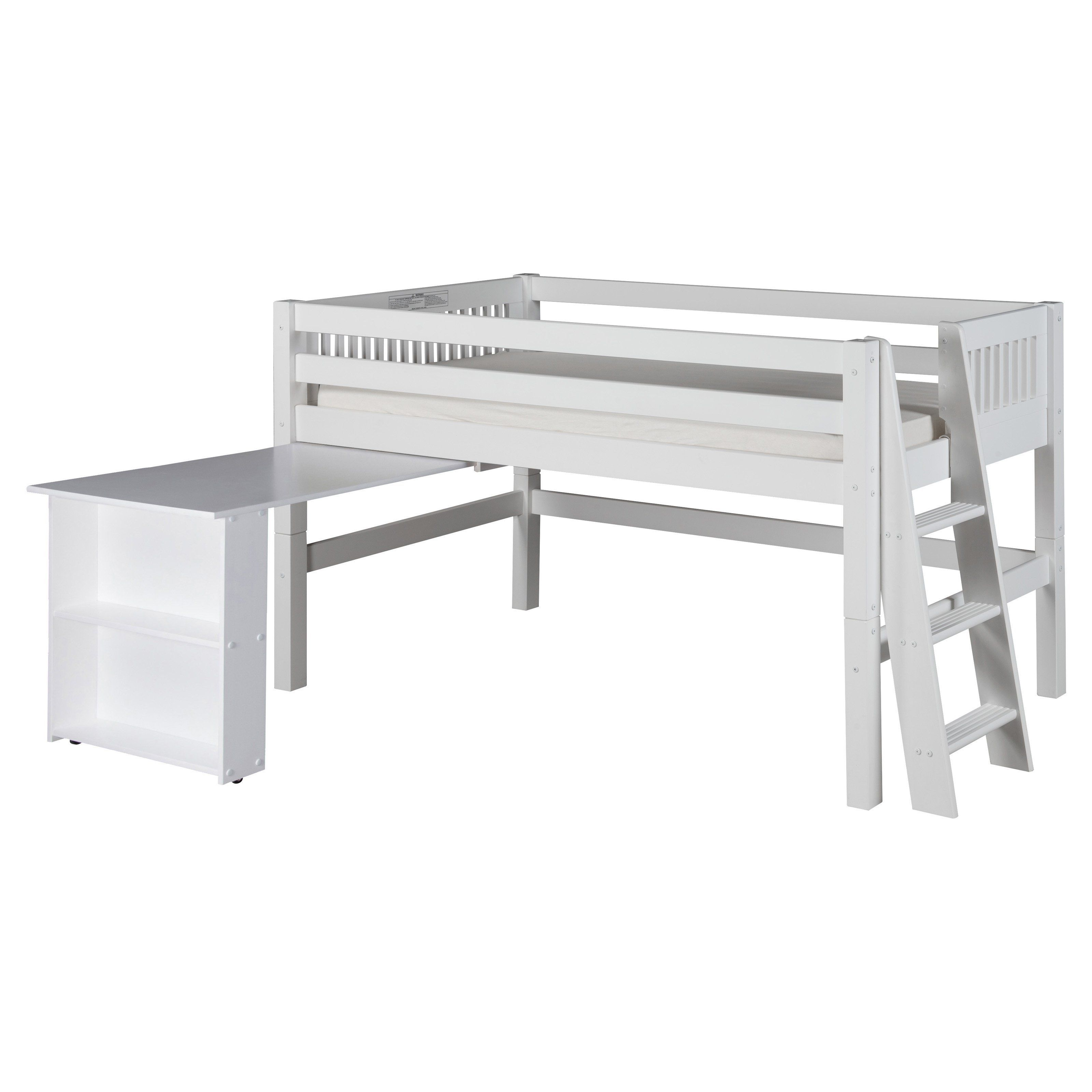 Low loft bed twin  Camaflexi Mission Headboard Low Loft Bed with Retractable Desk and