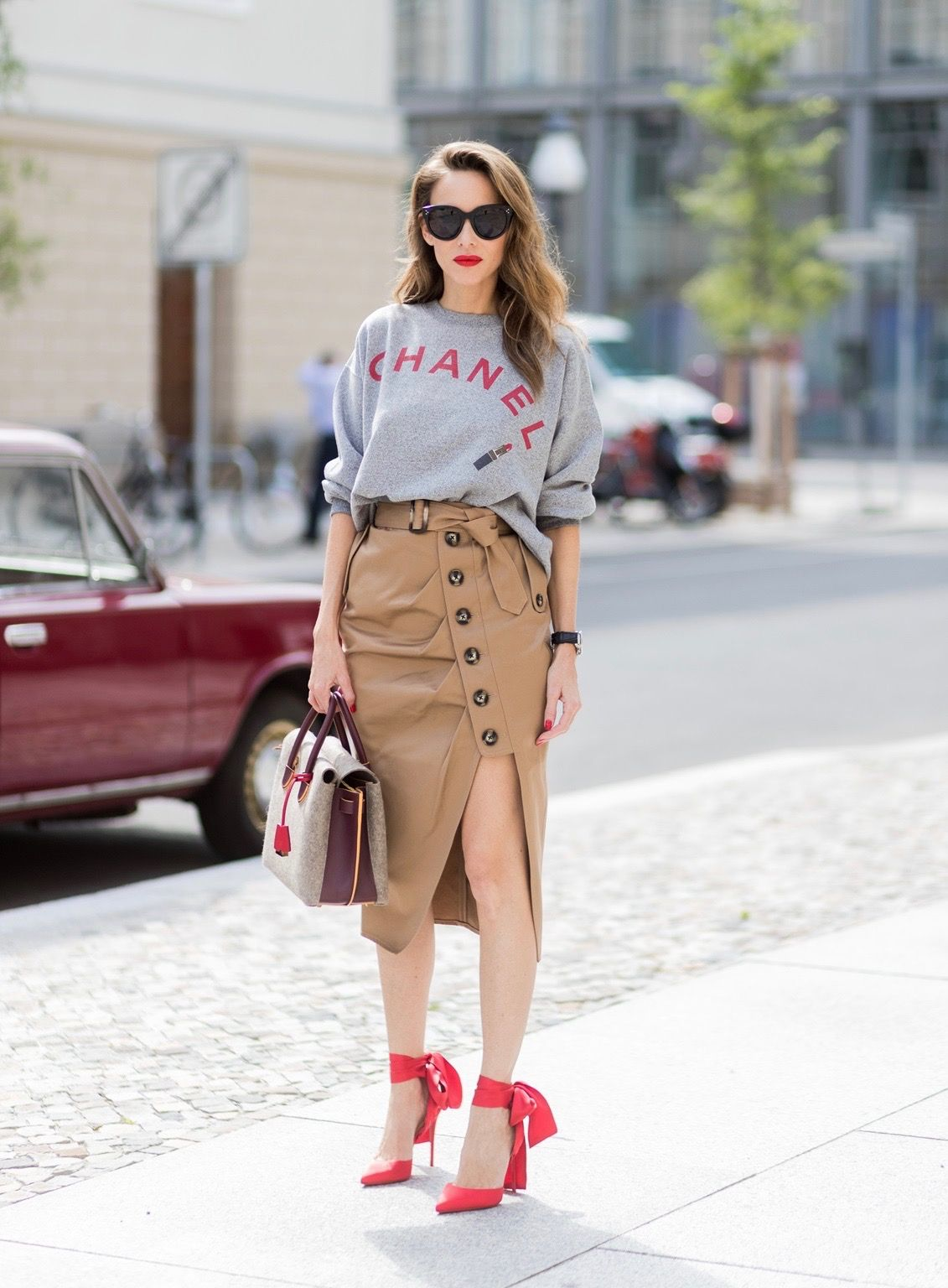 1d9510de Alexandra Lapp (model, blogger) wearing a vintage sweater from Chanel, a  midi