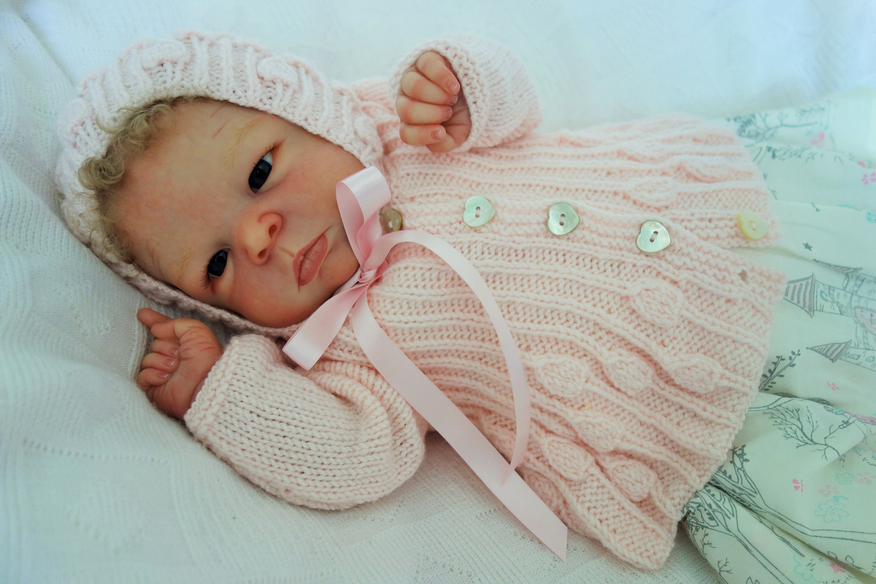 19b76a2c747d Hand knitted with Bamboo rich yarn in pale pink baby cardigan ...