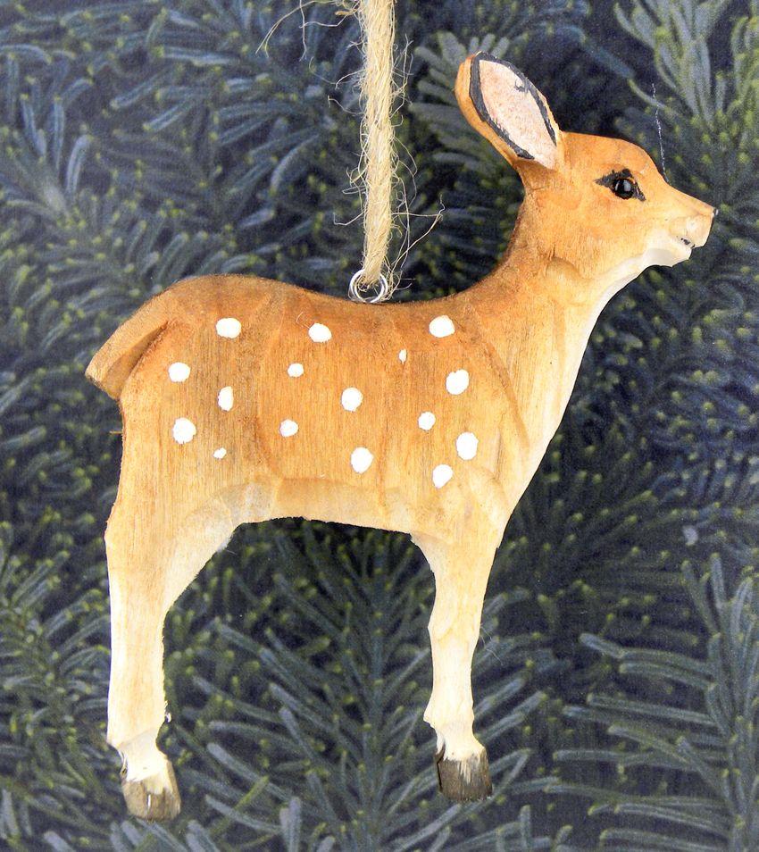 Krueger Christmas Tree Farm: Hand-Carved Wooden Deer Fawn Ornament