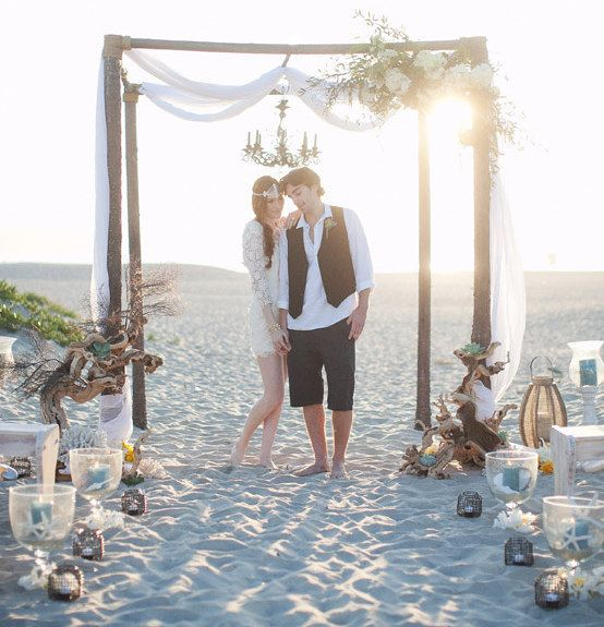 Night Beach Wedding Ceremony Ideas: Rustic Beach Wedding Canopy At Hotel Del Coronado.Arc De
