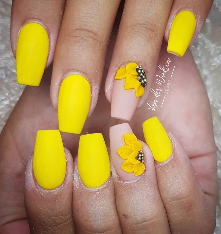 Yellow Acrylic Coffin Nails Design Yellow Gel Nails Design