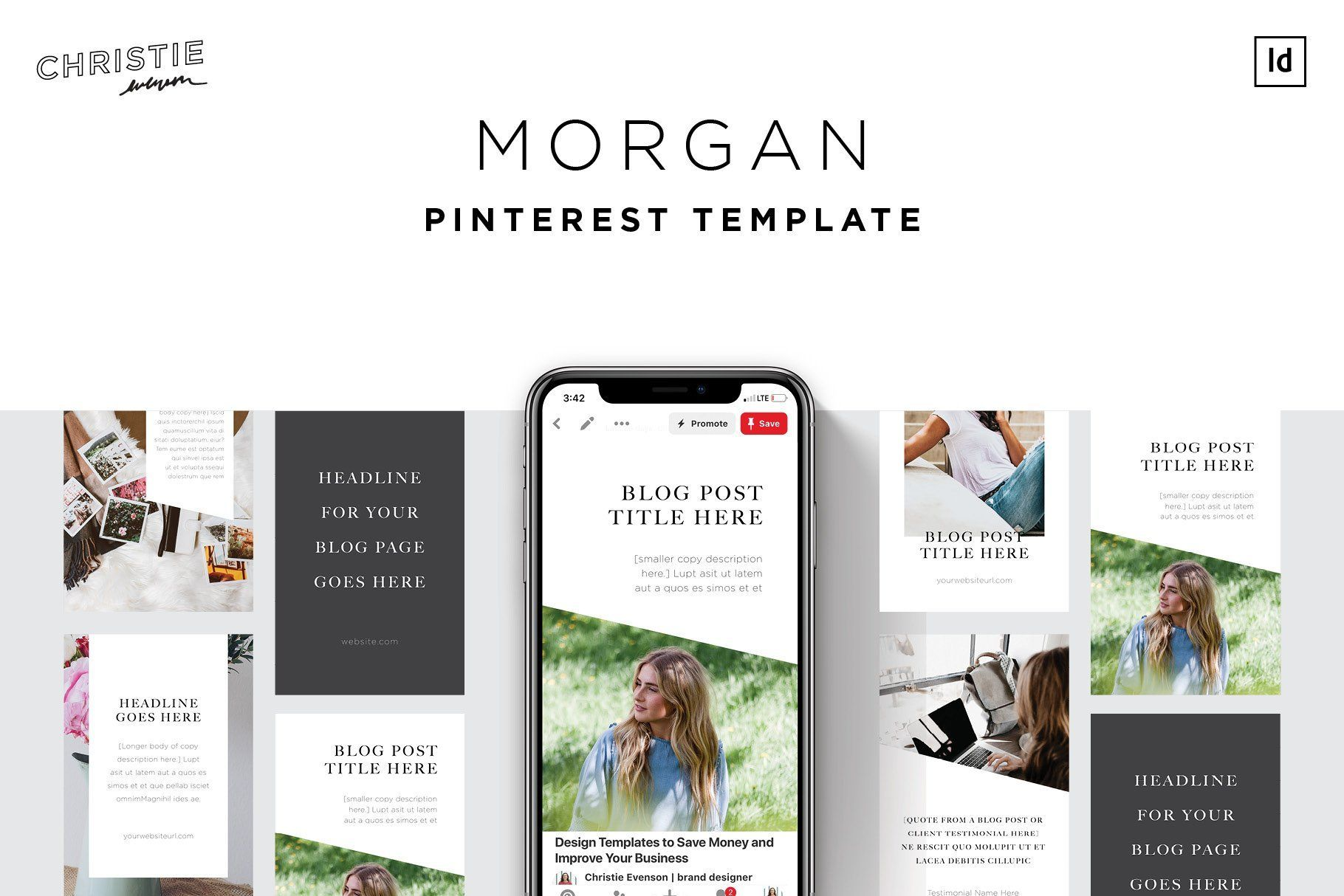 Morgan Pinterest Template With Images Pinterest Templates Pinterest Help Tutorials Social Media Template