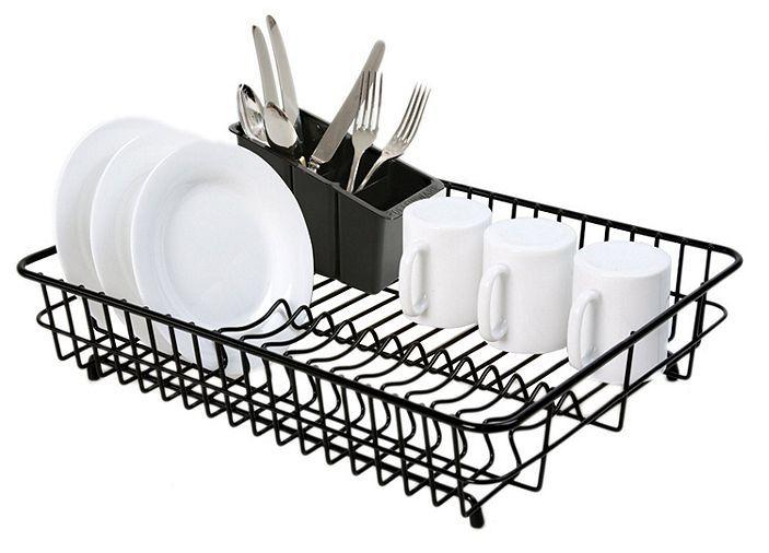 c9cd9f9d9c61 Tesco direct: Delfinware Plastic Coated Large Rectangular Dish Sink Drainer  with Cutlery Basket in Black