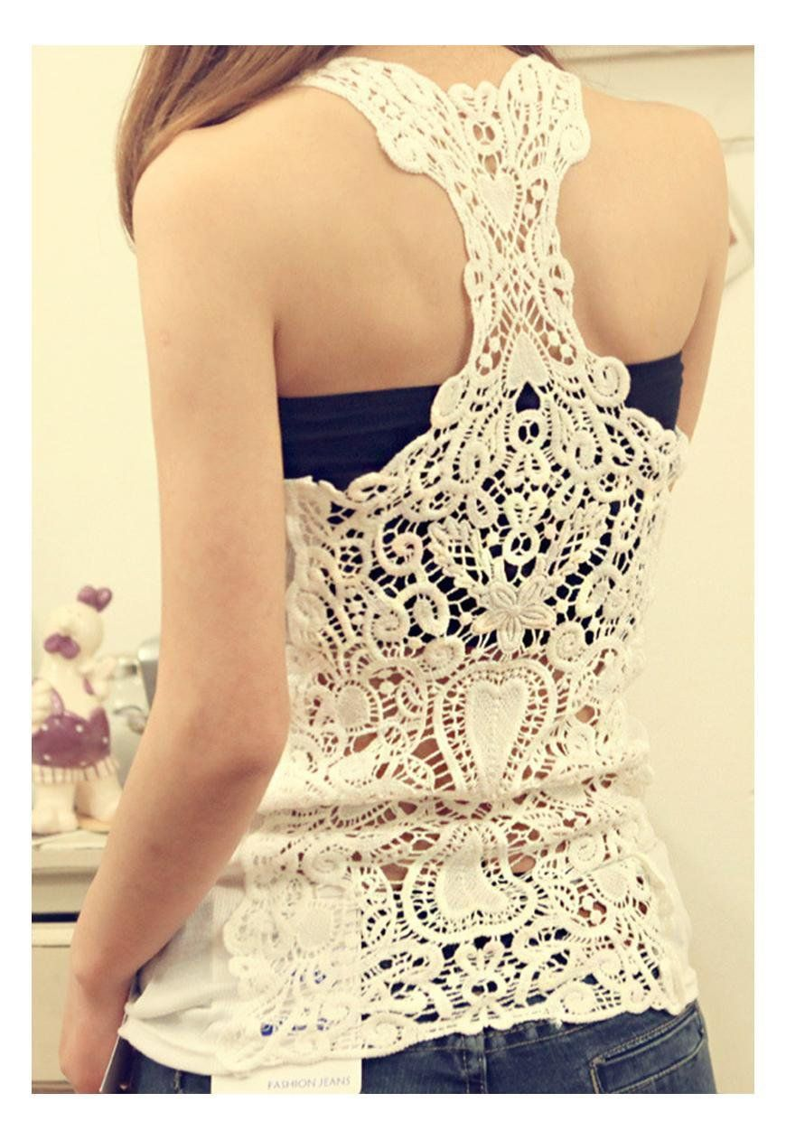 6b0413098f Lady Sexy Silm Cotton crochet lace back hollow-out camisole shirt vest tank  top in Clothing
