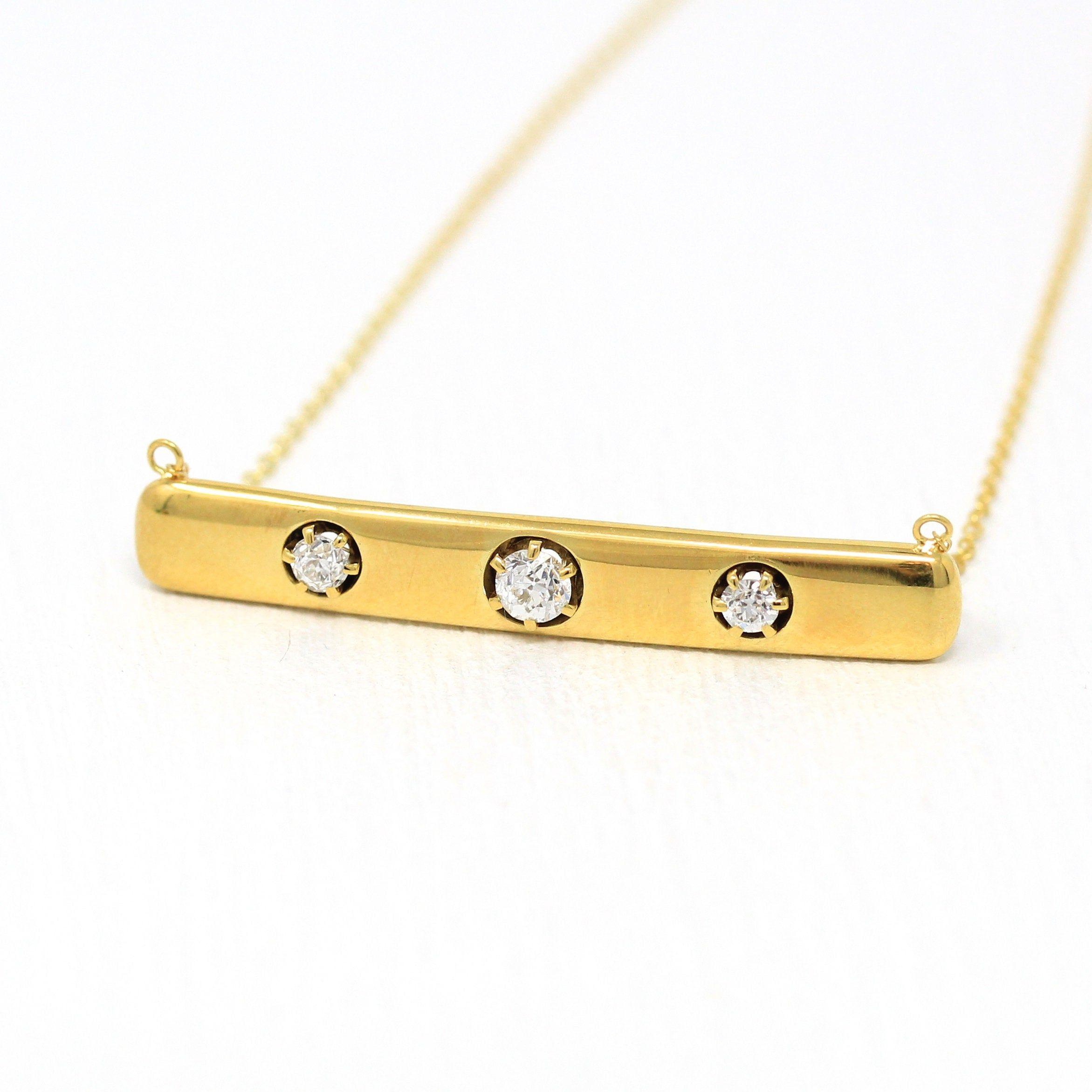 Diamond Bar Necklace Antique 14k Yellow Gold Brooch Etsy Diamond Bar Necklace Bar Necklace Yellow Gold Pendants