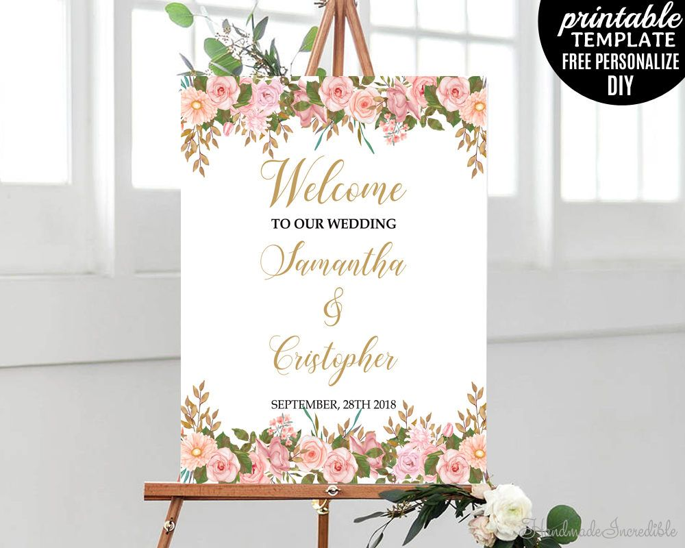 Wedding Welcome Poster  Printable Welcome Poster  Pink