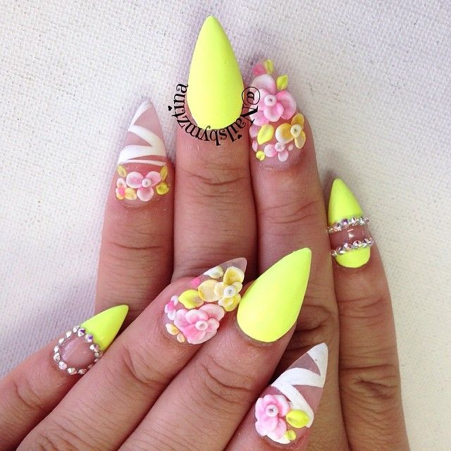 Spring Summer Nails By Nailsbymztina On Instagram Flower Nails