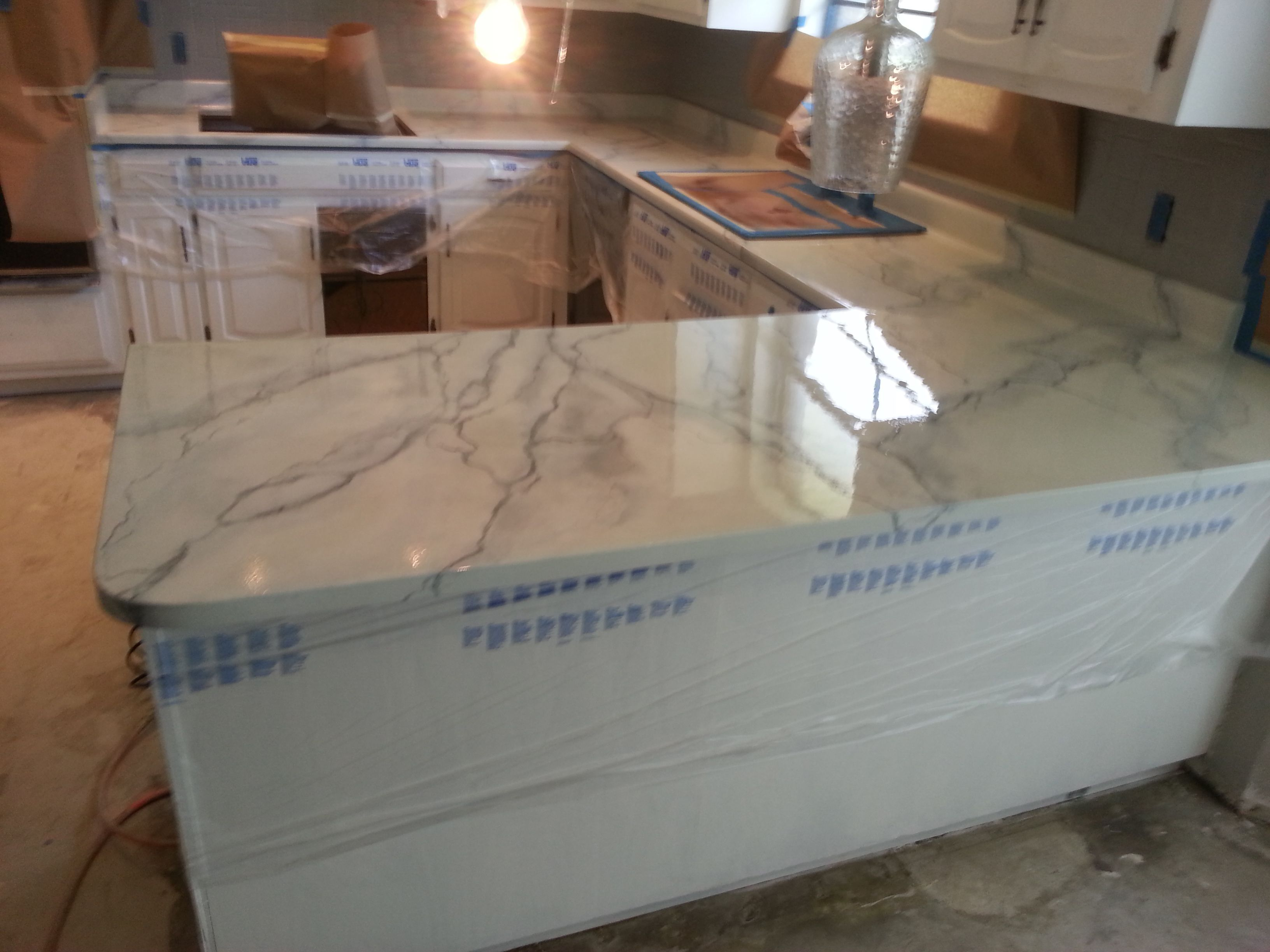 Laminate Counter Tops After Resurfaced To Look Like Carrara Marble Paddle Bathroom