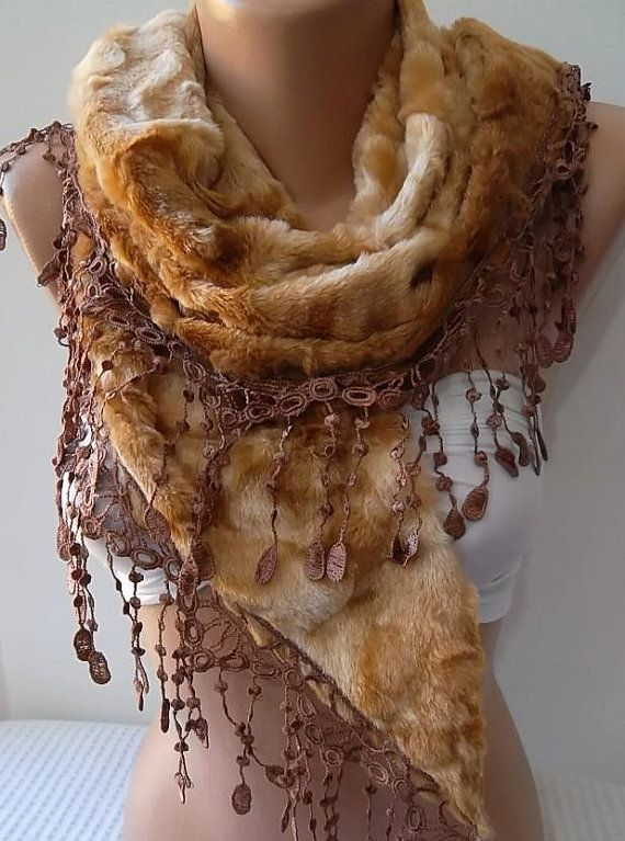 Honey ColorFur Scarf Shawl Neck by ElegantScarfStore on Etsy