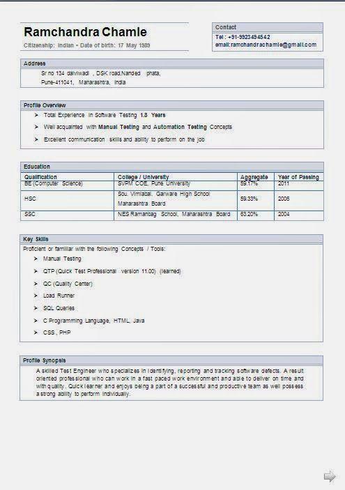 curriculum vite Sample Template Example ofExcellent Curriculum - manual testing resume format
