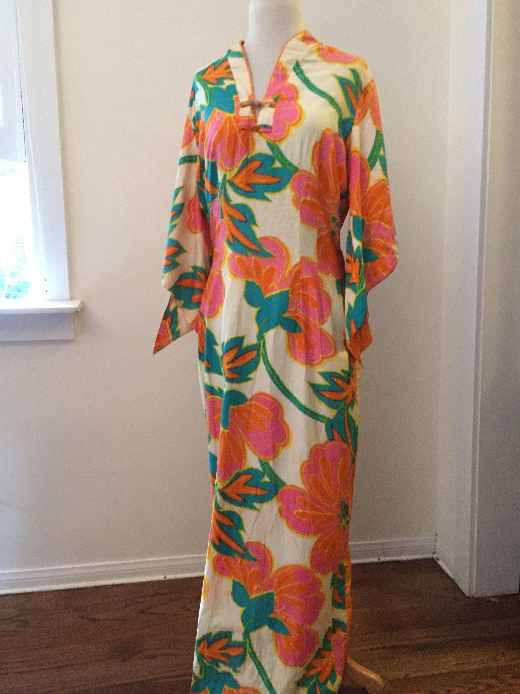 Vintage Hawaiian Maxi Dress w Belt