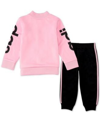 4ad528abb60 adidas Baby Girls 2-Pc. Jacket & Jogger Pants Set - Pink 18M ...