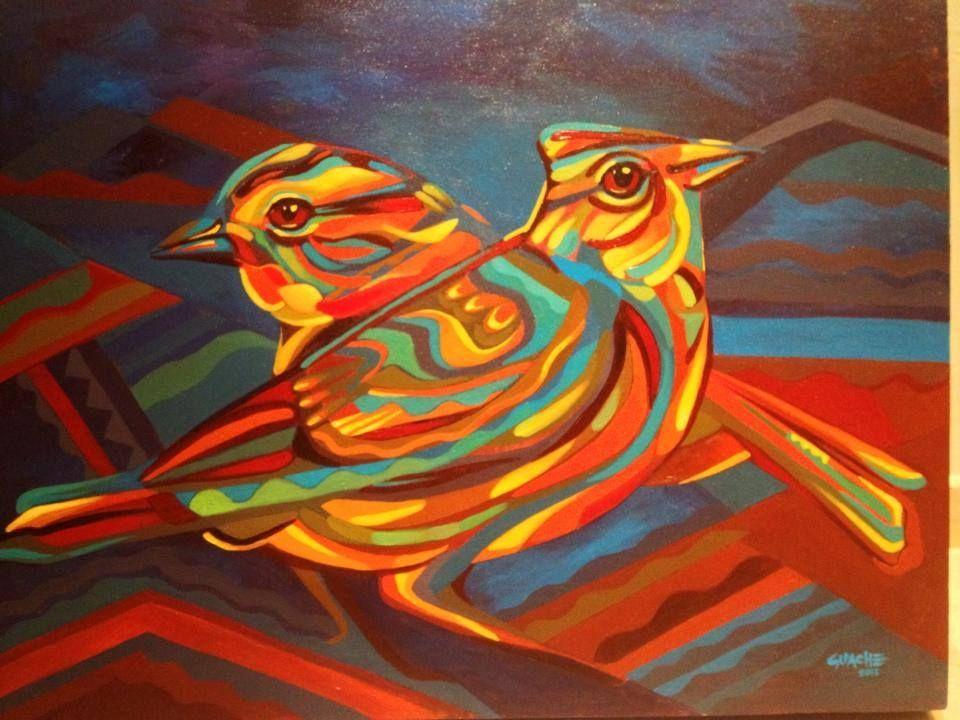 Guache Con cariño para Caro Contreras y Juanca Hoyos. Acrílico sobre lienzo. Maracaibo - Venezuela Sept 2013