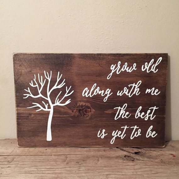 Family Fingerprint Wood Sign | Grow Old With Me The Best Is Yet To Be Wood Sign | Home Décor  PRODUCT DESCRIPTION: Grow Old With Me The Best Is Yet To Be Wood Sign. Create a unique piece using your families fingerprints. Hooks are included for hanging. Each order is custom made and hand painted, so some variation should be expected. Have a different quote in mind? No problem! This item can be customized to your liking.  SIZE & MATERIAL: Approx. 12x 20  White paint on stained wood… Have…