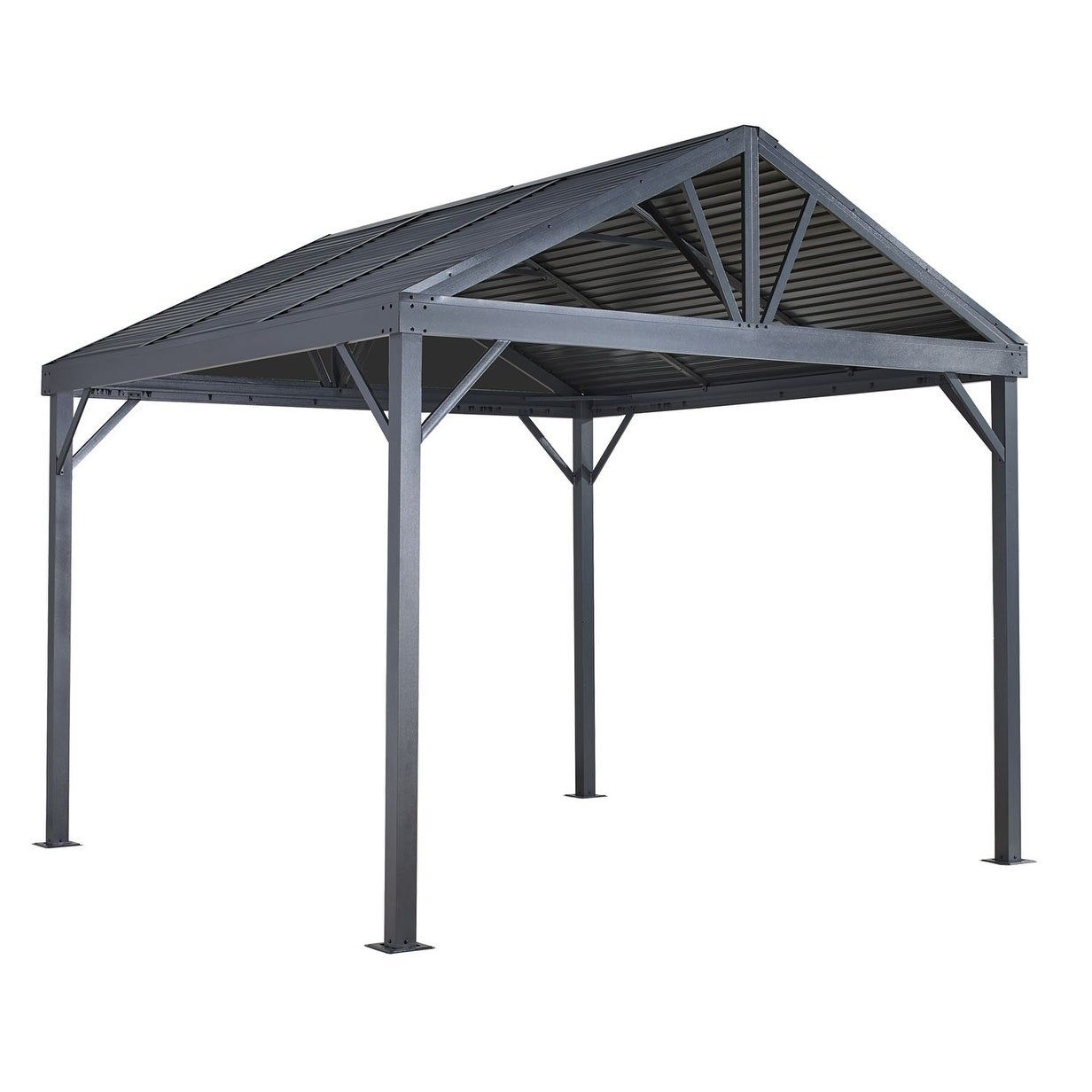 Sojag Sanibel I Outdoor Galvanized Steel And Aluminum Hardtop Gazebo 10 X 10 Ft Light Gray 500 8162837 Aluminum Gazebo Gazebo Screened Gazebo