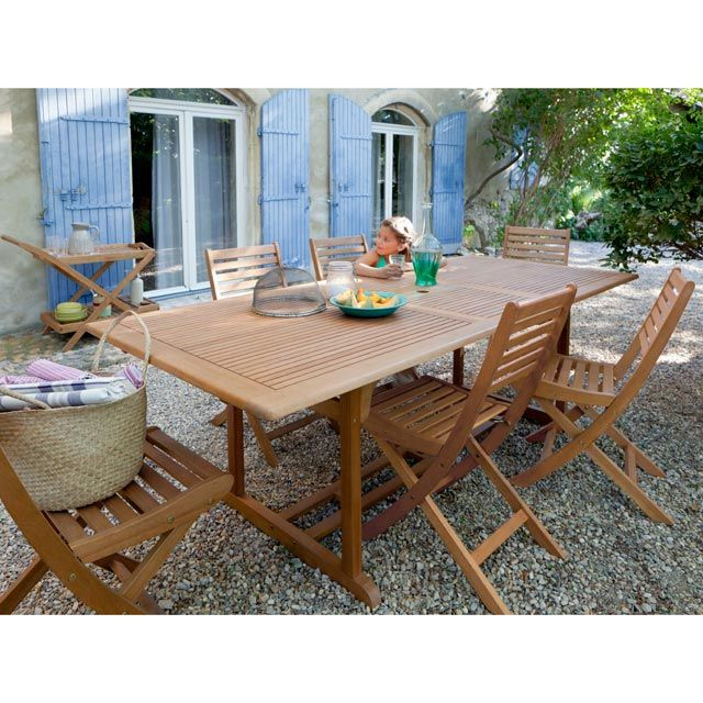 Table De Jardin En Bois Aland 180 230 X 100 Cm Castorama Table De Jardin Bois Table De Jardin Salon De Jardin Castorama