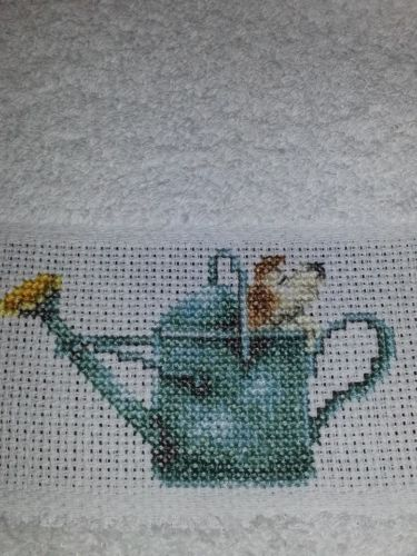 Finished-Completed-Cross-Stitch-Towel-Marjolein-Bastin-Watering-Can-Dog