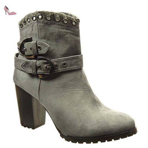 Bottines Femmes Automne Hiver talon épais en cuir bottes BTYS-XZ019Gris35 OTZl55t