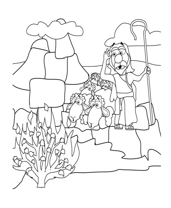 moses and burning bush coloring pages - Google Search | Oude ...