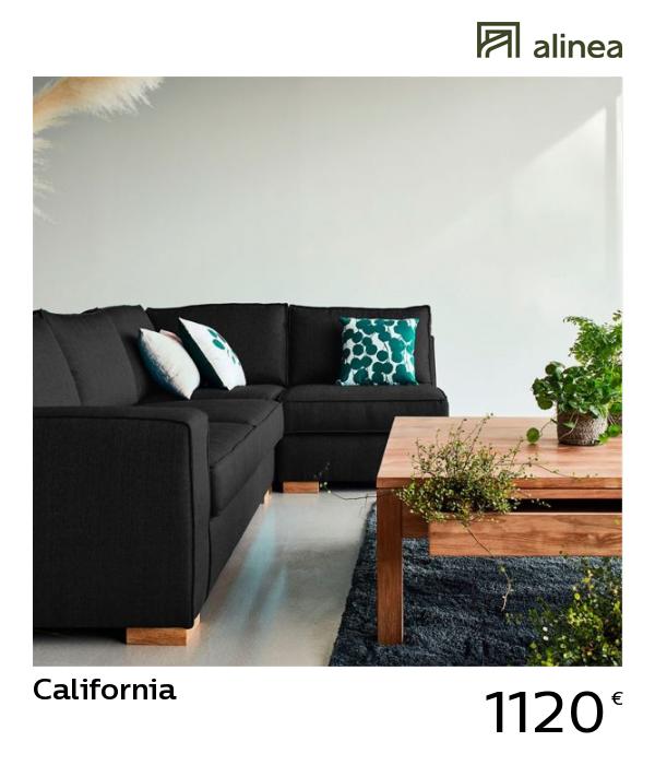 California Canapé d\'angle en tissu noir calabrun