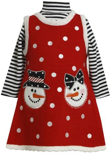 056cb7d810e Bonnie Jean Girls Christmas Snowman Holiday Jumper Dress Set Red 36M --  Read more at the image link.