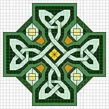 FOR THE IRISH IN ME Celtic Cross at Sova-Enterprises.com This Celtic Cross pattern actually comes with two color keys...one in the shades of green you see here, and one with shades of blue! Your choice which to stitch!