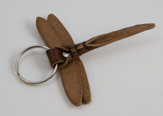 Dragonfly Leather Key Ring, Key Fob, Dragonfly Key Chain, Gifts Under 25