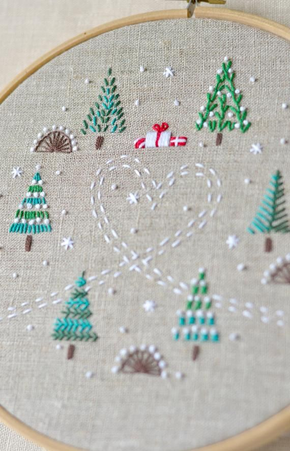 Embroidery pattern • Hand embroidery patterns • PDF • Christmas trees • Instant Download • Winter forest • NaiveNeedle #embroiderypatternsbeginner