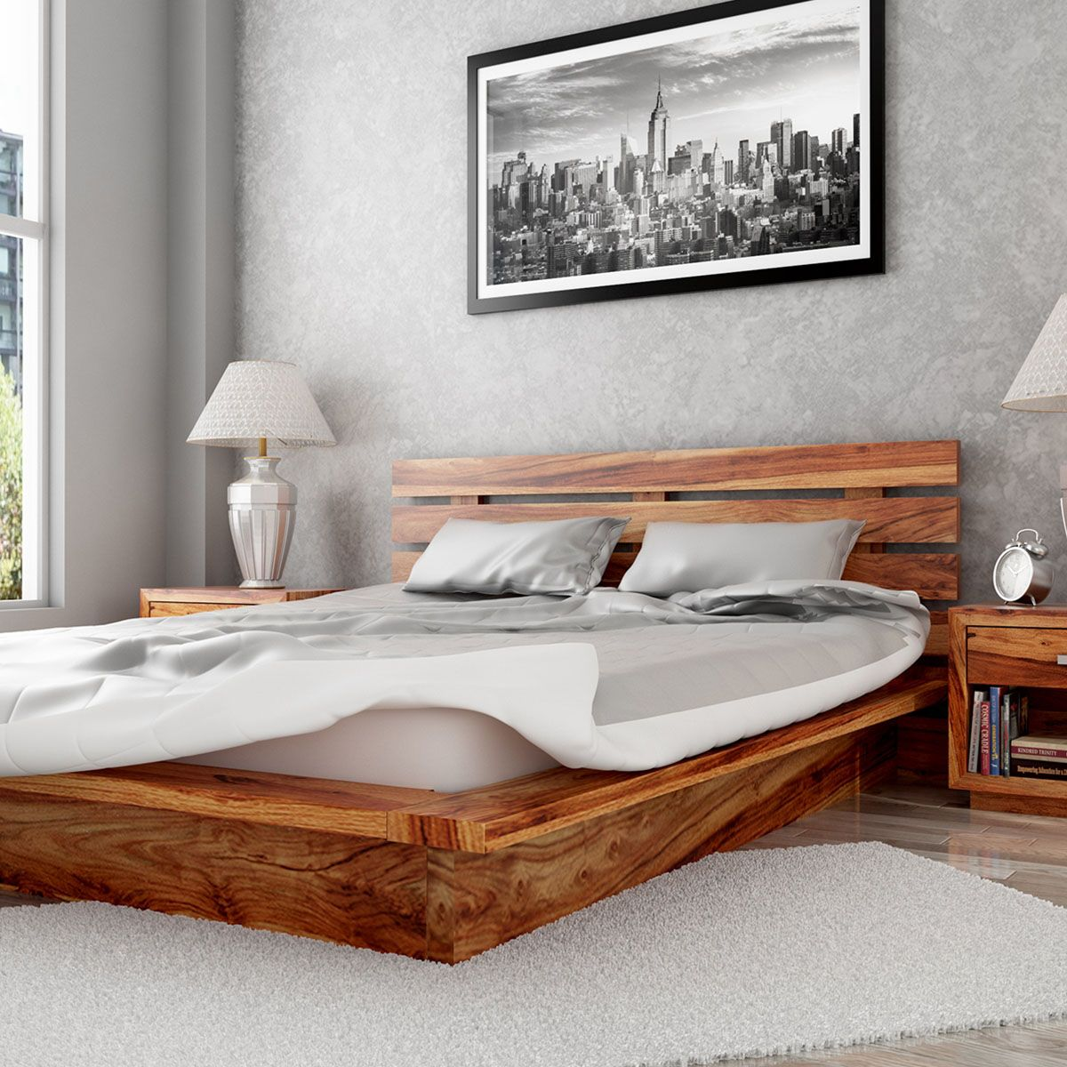 The Flagstaff Handcrafted Solid Wood Platform Bed Frame Offers A