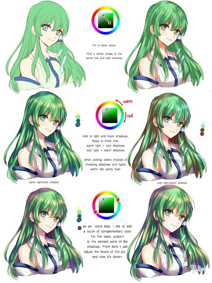 Sanae From Touhou Lol Also Good Tips Digital Painting Tutorials Anime Art Tutorial Digital Art Tutorial