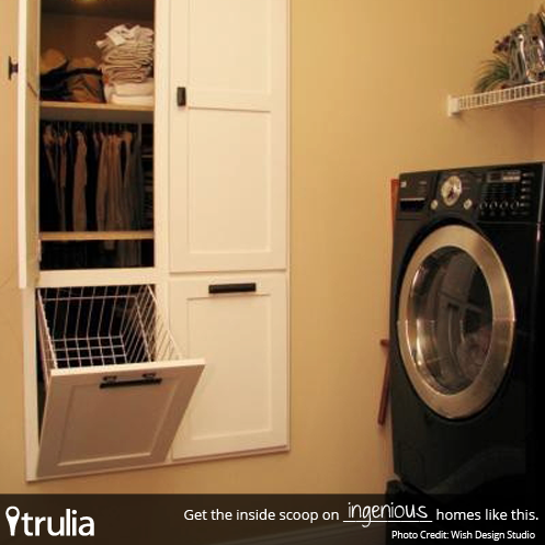 Pass-through laundry basket from closet. Awesome!