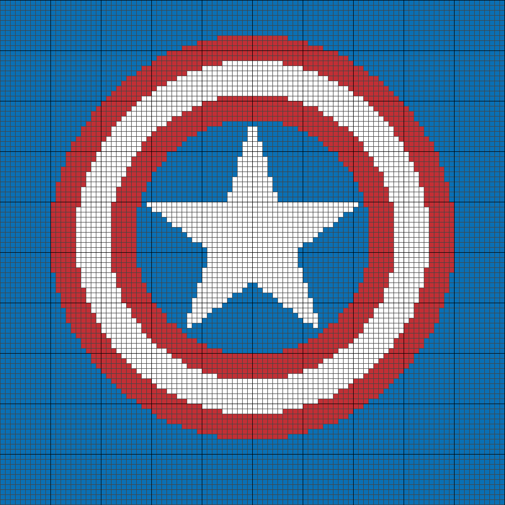 Have Happy 4th of July! Free Captain America Shield Gridded Design ...