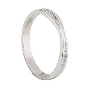 Ladies 9ct White Gold Diamond Twist Wedding Ring