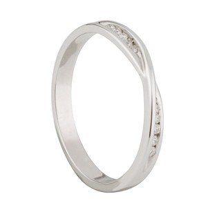 Ladies 9ct White Gold Diamond Twist Wedding Ring
