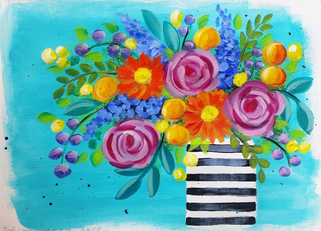 Impressionist Beginner Acrylic Painting Bohemian Flower Vase Live Tutorial Cacflowerart Flower Art Painting Tutorial Flower Painting