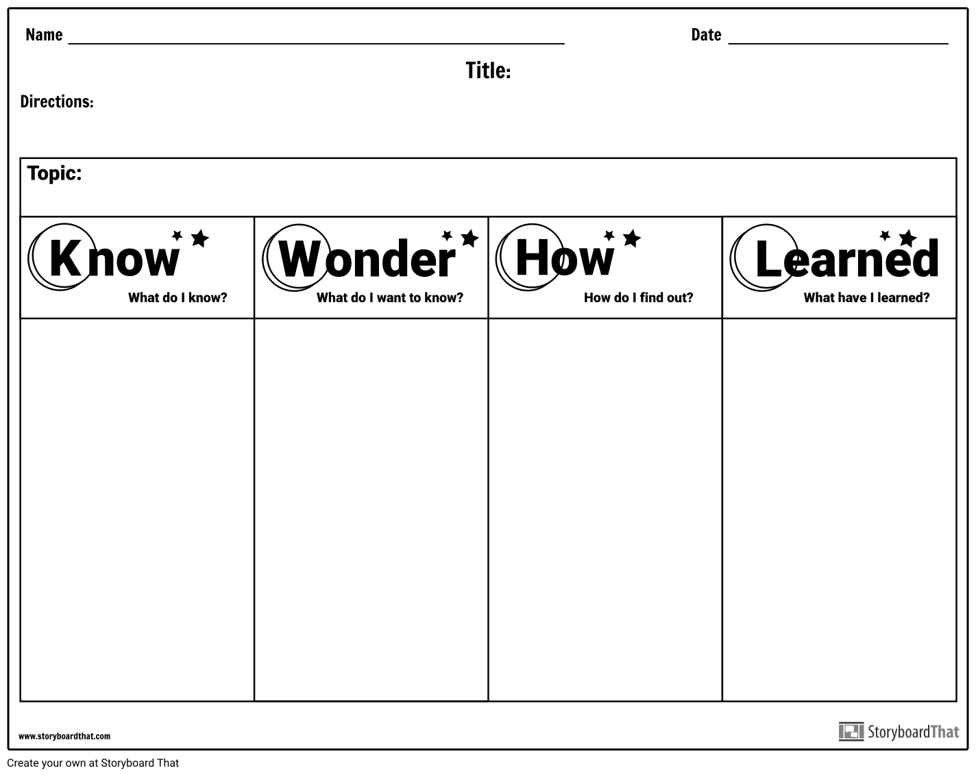 Use Storyboard That S Worksheet Maker To Create Custom Kwl
