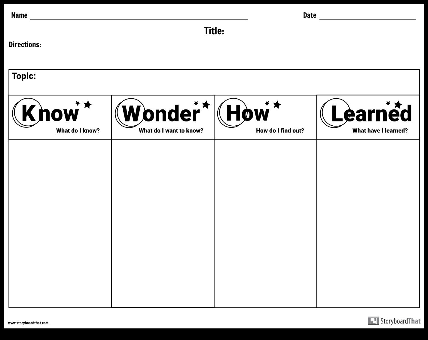 Use Storyboard That S Worksheet Maker To Create Custom Kwl