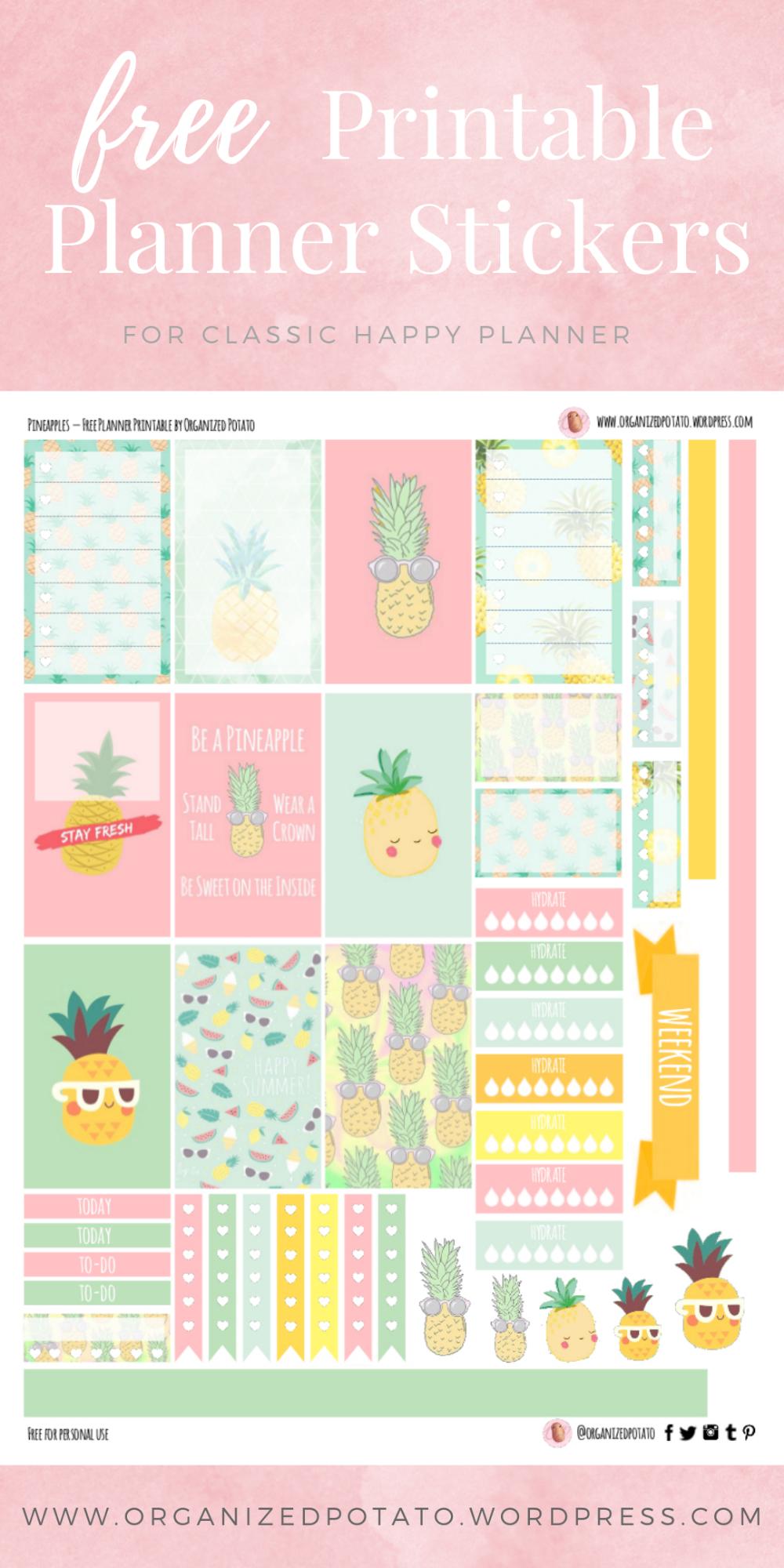 Free Planner Printable Pineapples Happy Planner Printables Printable Planner Planner Printables Free
