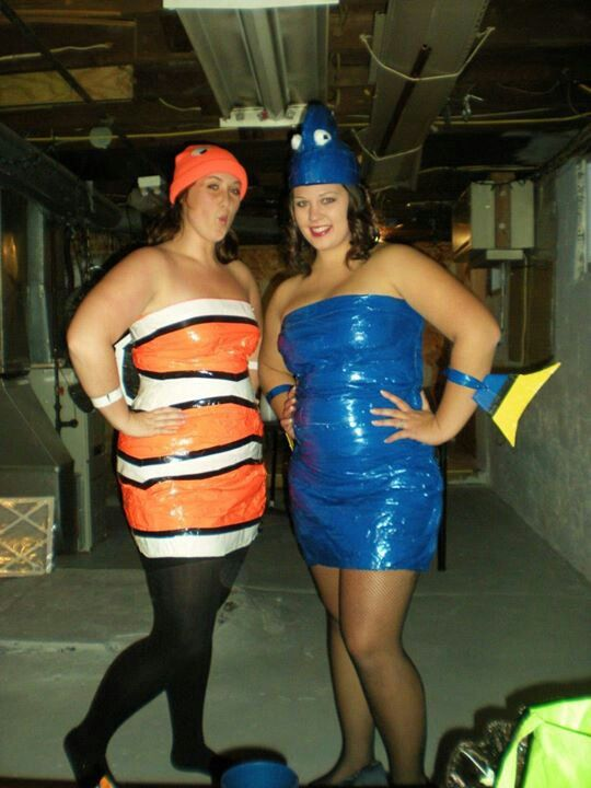 halloween diy outfit dory and nemoduct tape dresses