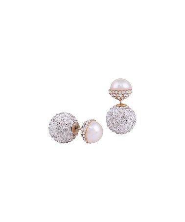 Another great find on #zulily! Shell Pearl & Crystal Round Stud Earrings #zulilyfinds