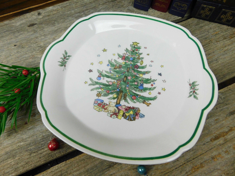 Vintage Nikko Happy Holidays Christmas 2 Handled Square Serving ...