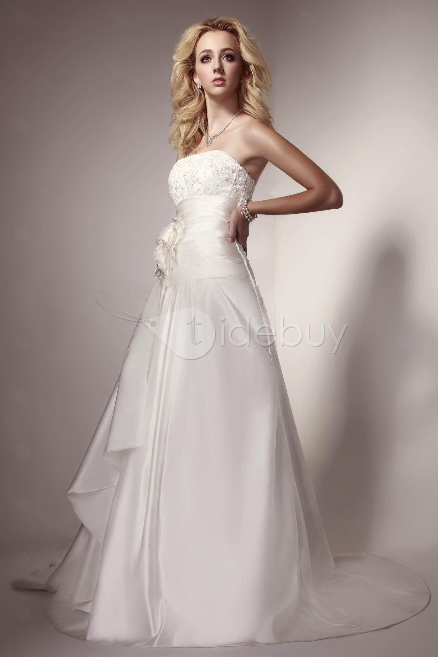 Amy's wedding dress  Sophisticated Strapless Ruched Aline Flowers Amyus Bridal Wedding